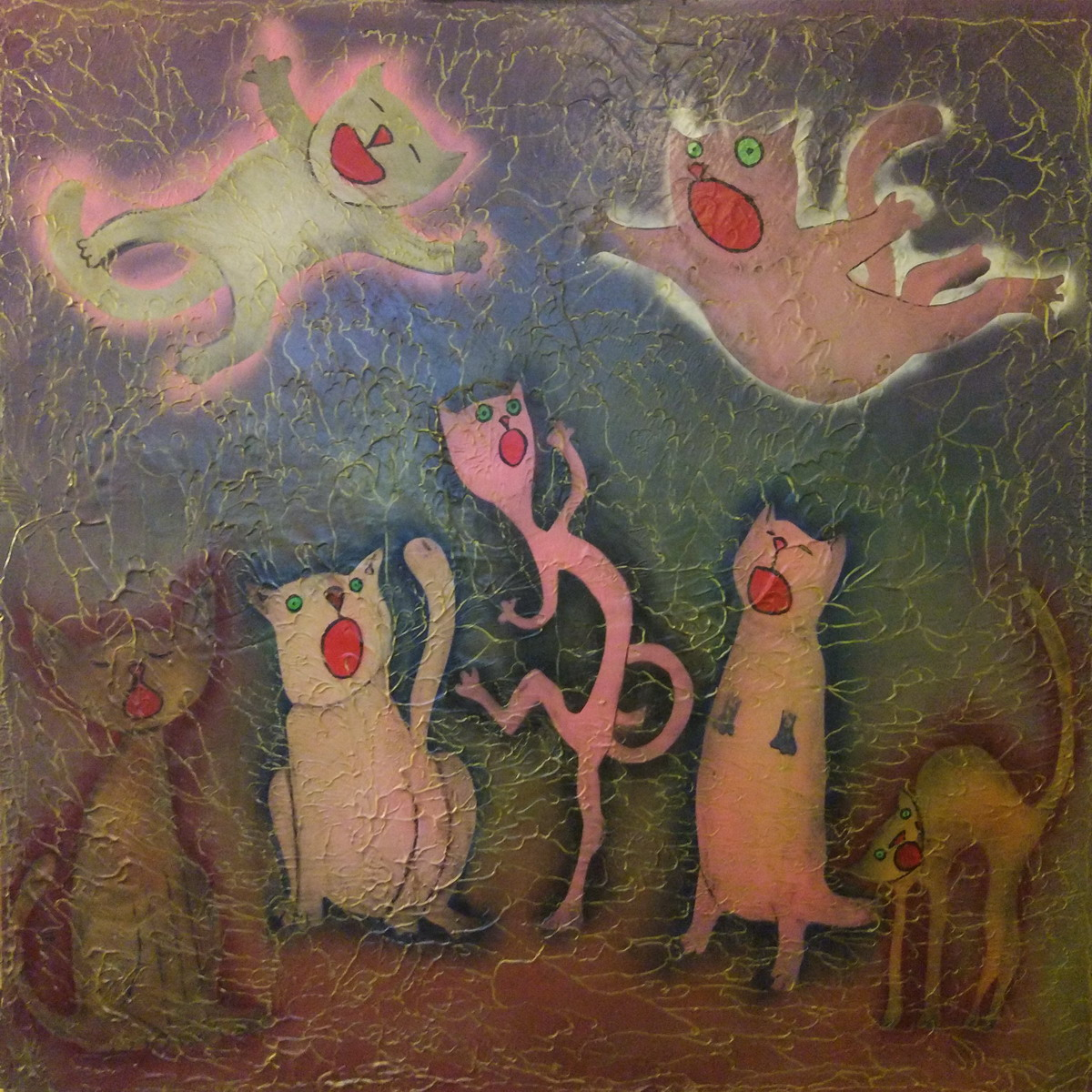 Miserable Cats /Жалкие Коты/ 2018/Acrylics on canvas/100x100 cm
