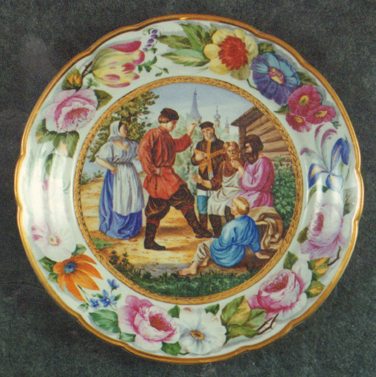 Wall Plate. Country Duncing. Over Glasour Painting on Porcelain. D 27 cm