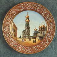 Wall Plate. Old Bell Tower in Moscow Kremlin. Over Glasour Painting on Porcelain. D 31 cm В