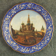 Wall Plate Snt Basil Cathedral with the Place of Execution. Over Glasour Painting on Porcelain. D 31 cm